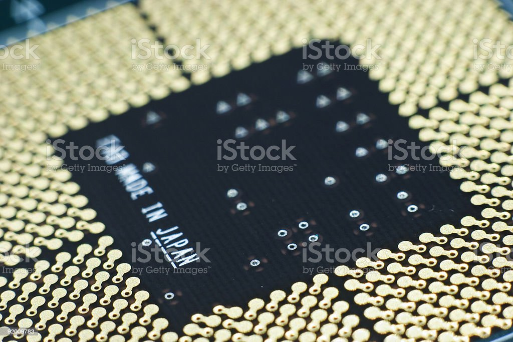 Motherboard to CPU contacts, macro stock photo