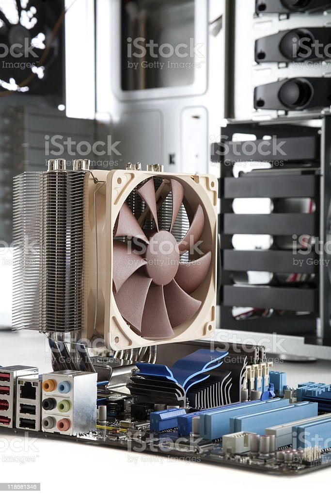 Motherboard with hi end CPU Cooler royalty-free stock photo