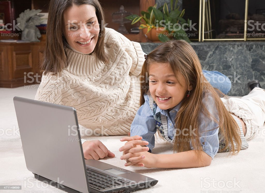 Mother-Daughter Fun with Computer royalty-free stock photo