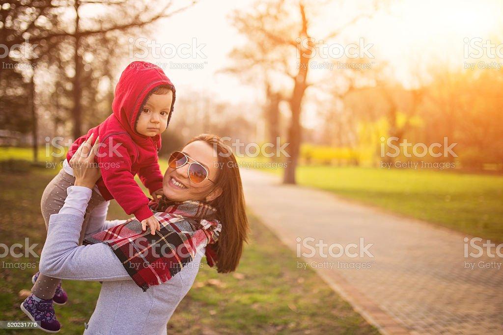 Motherhood, joy of life stock photo