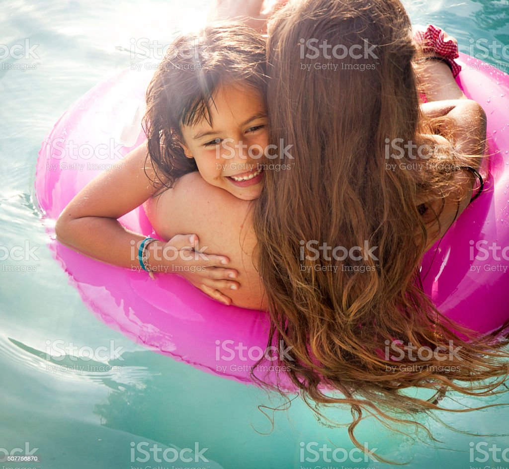 Motherly love, child happiness stock photo
