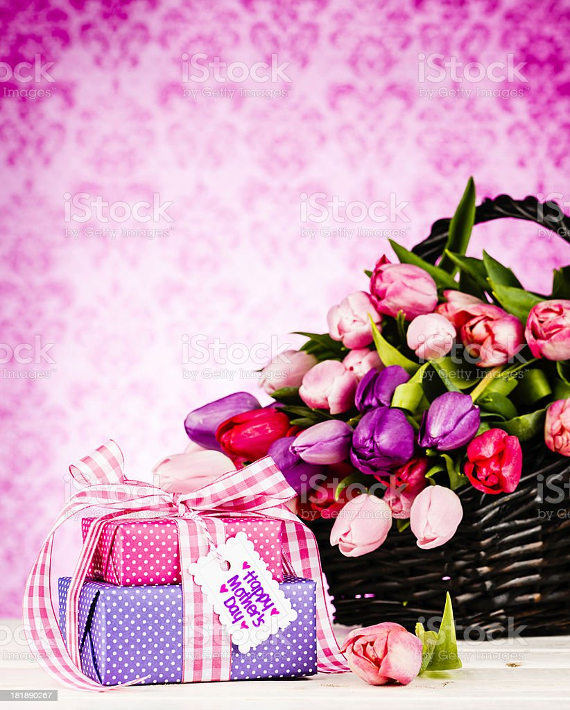 Mother's Day Basket with Gifts royalty-free stock photo