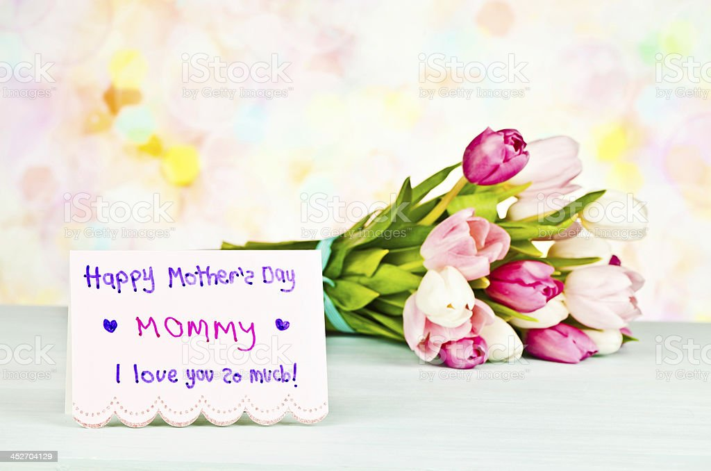 Mother's Day Bouquet and Card From Child royalty-free stock photo