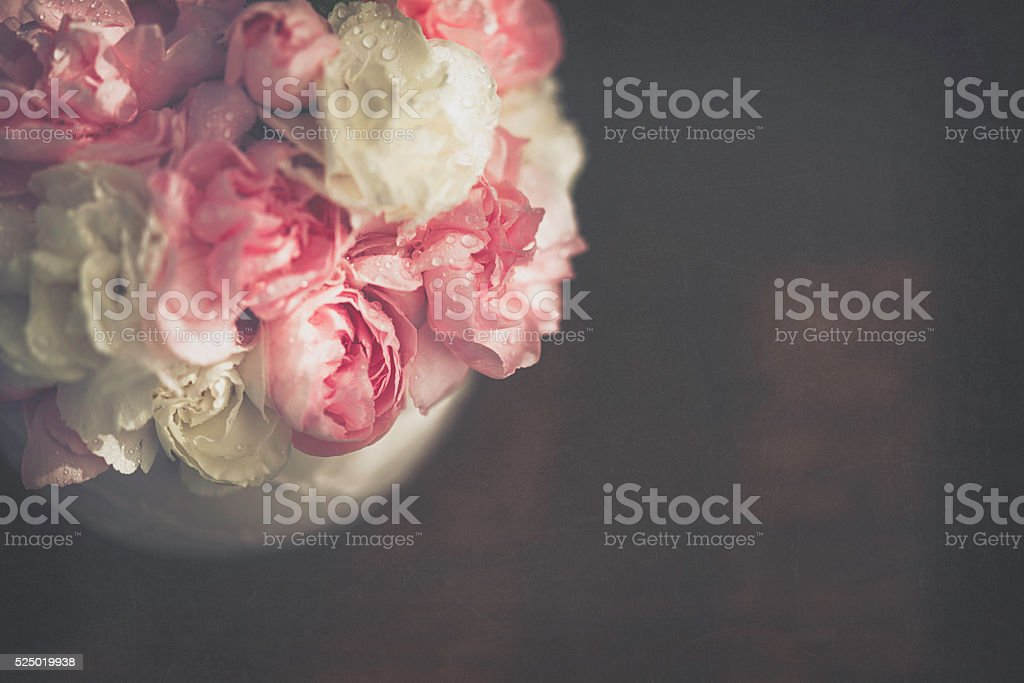 Mother's Day bouquet of carnations in china cup stock photo