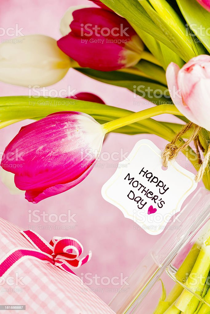 Mother's Day Bouquet with Gift royalty-free stock photo