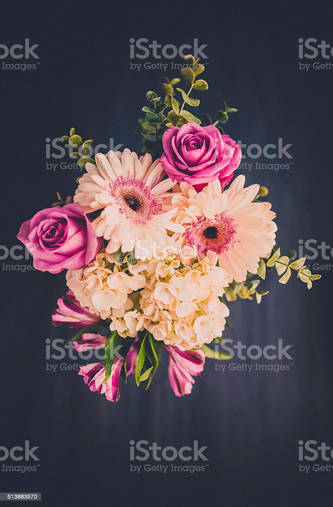 Mother's Day bouquet with roses and gerbera flowers stock photo