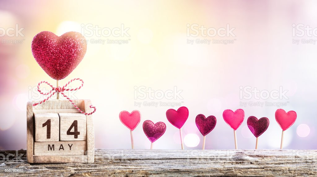 Mothers Day - Calendar Date With Hearts Decoration stock photo