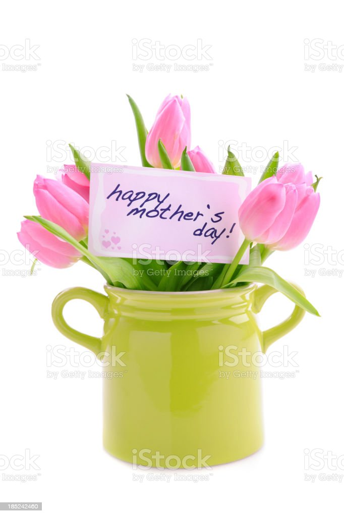 Mothers day card and tulips royalty-free stock photo