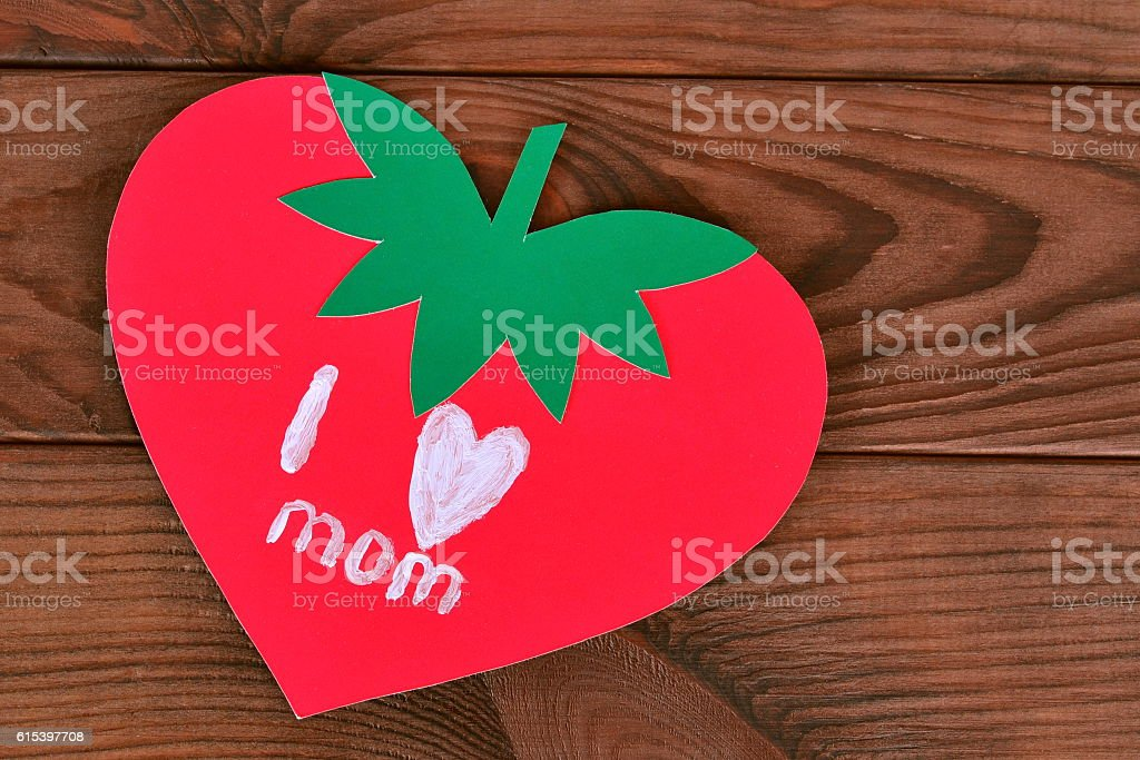 Mothers day card on wooden table stock photo