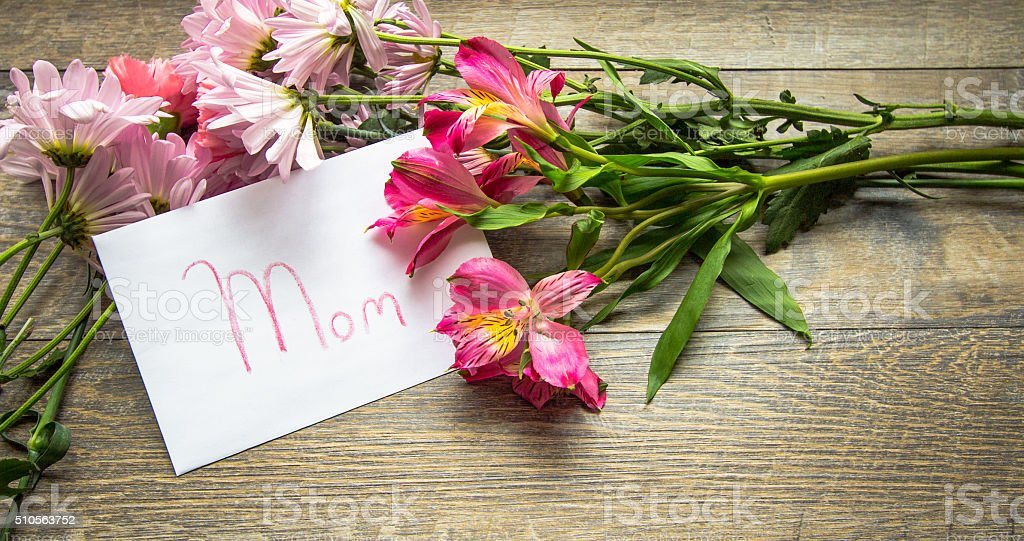 Mother's Day Card With A Bouquet stock photo