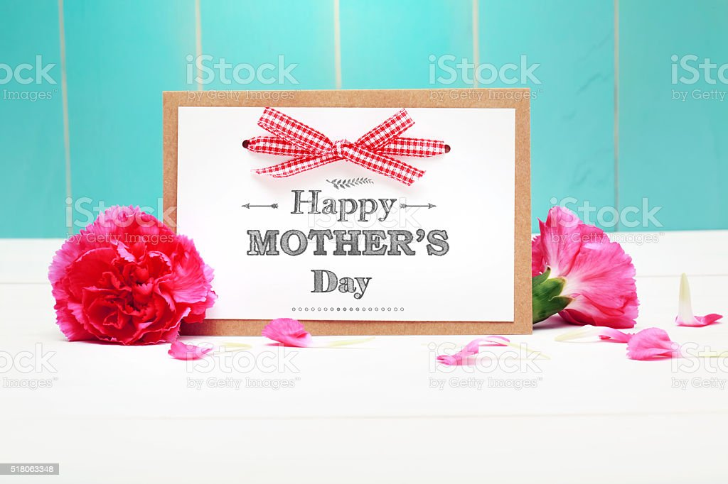Mothers day card with pink carnations stock photo