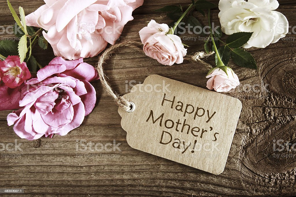 Mothers day card with rustic roses stock photo
