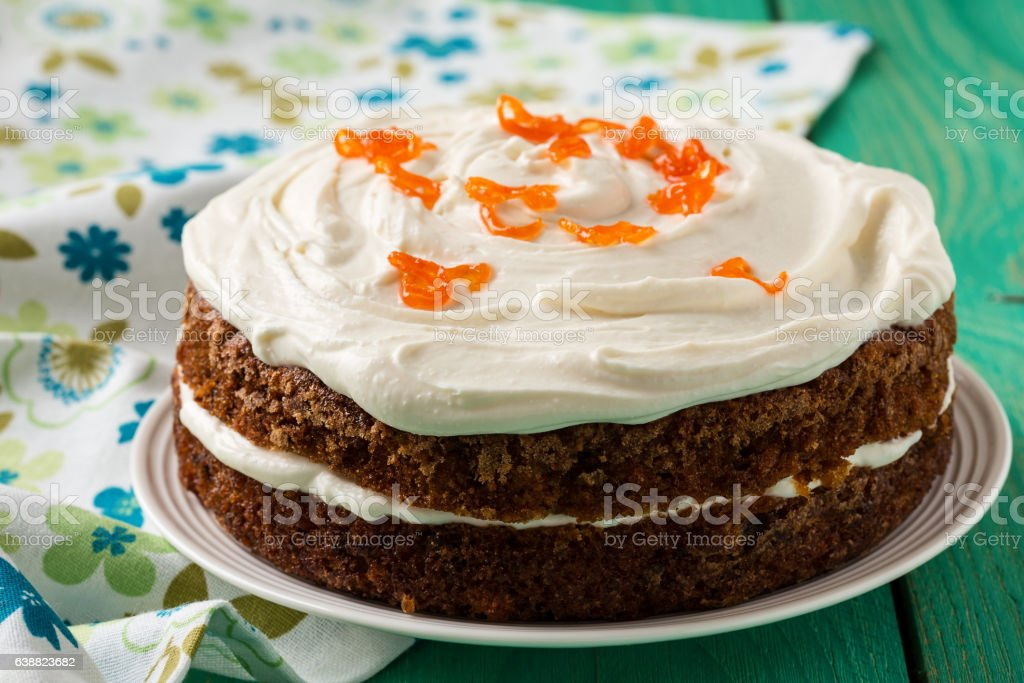 Mother's day carrot cake with swirls cream cheese frosting stock photo