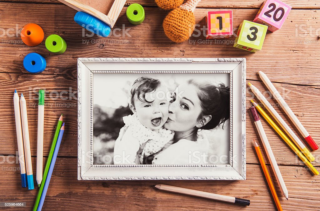Mothers day composition. Black-and-white photo. Various toys. Wo stock photo