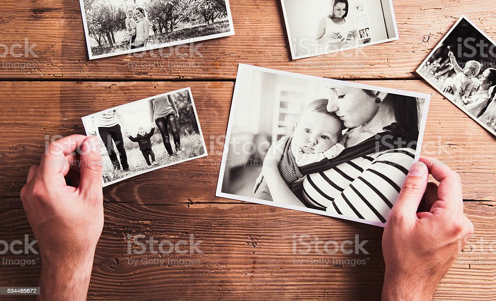 Mothers day composition. Black-and-white pictures, wooden backgr royalty-free stock photo