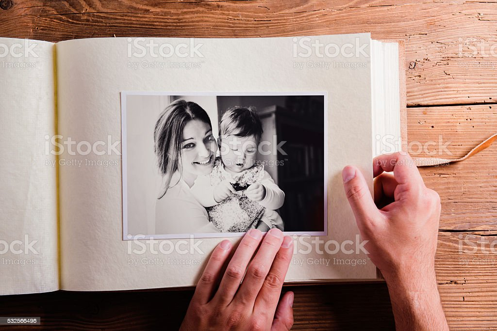 Mothers day composition. Photo album, black-and-white picture. W stock photo