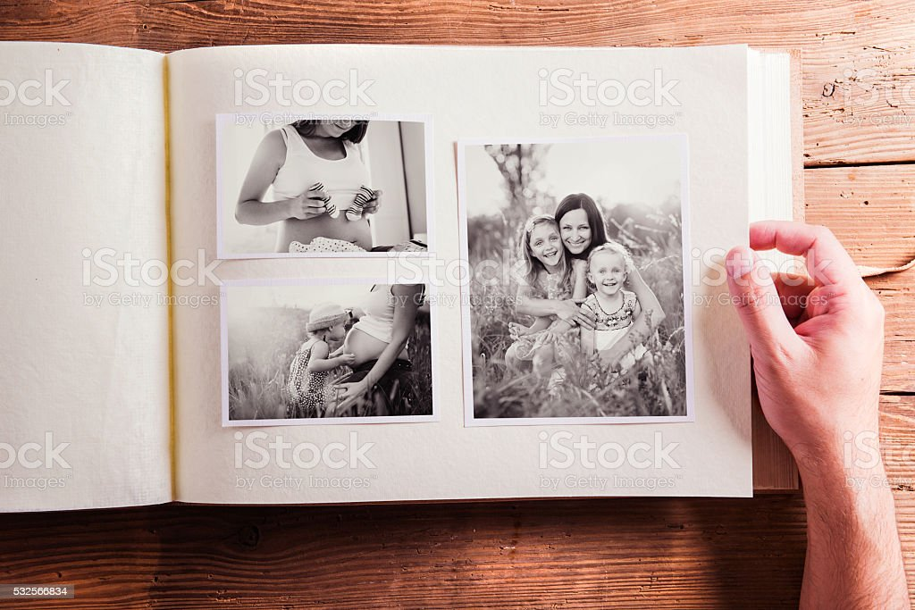 Mothers day composition. Photo album, black-and-white pictures. stock photo