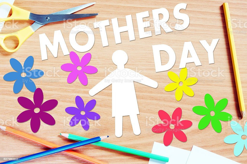 Mothers day. Conceptual abstract image with paper cuts stock photo