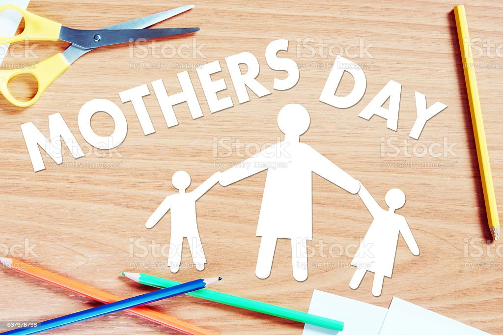 Mothers day. Conceptual abstract image with paper scrapbooking stock photo