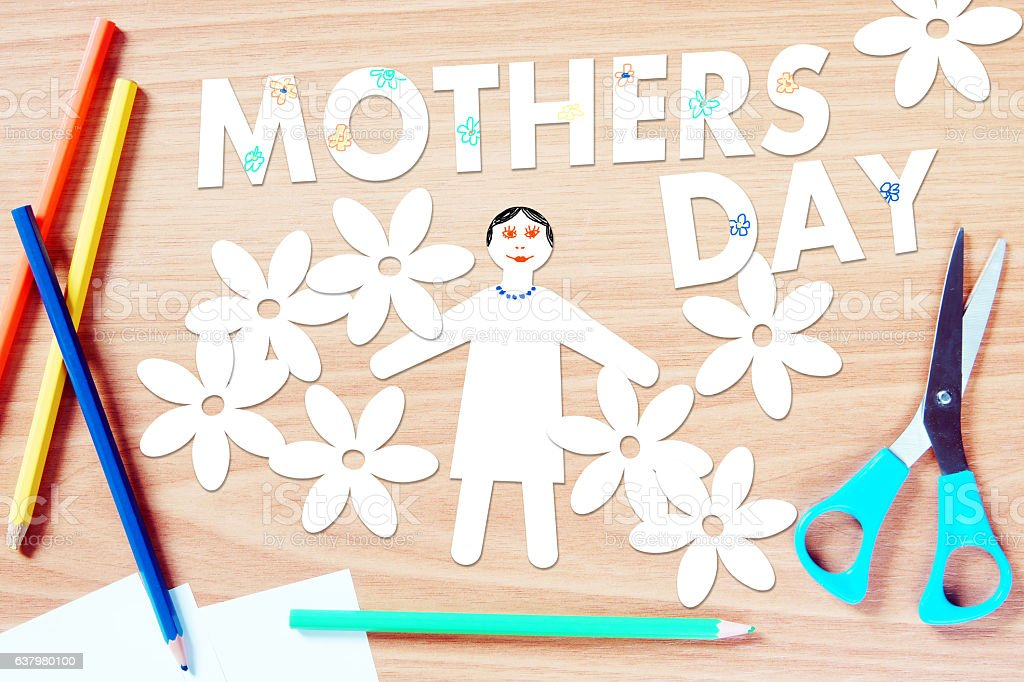 Mothers day congratulation. Concept with paper scrapbooking stock photo