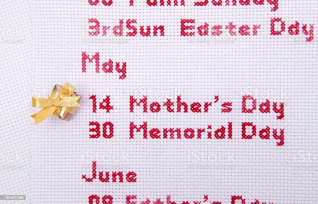 mothers day cross stitch gold_box royalty-free stock photo