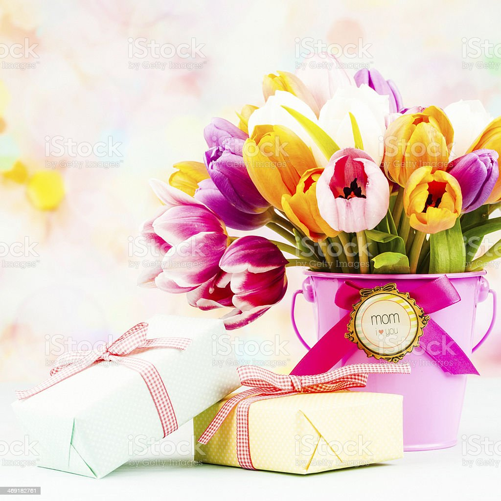 Mother's Day Gift of Fresh Flowers royalty-free stock photo