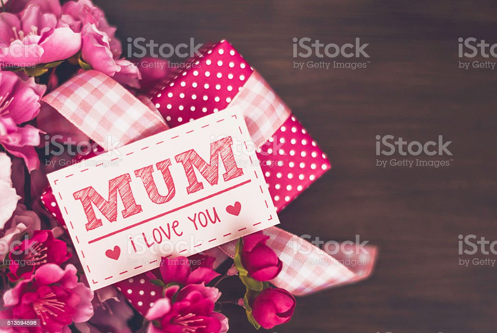 Mother's Day gifts and message for mum stock photo