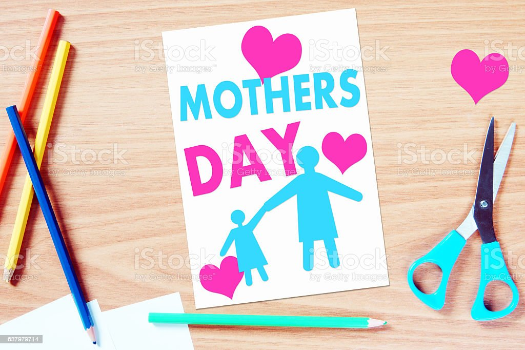 Mothers day greeting. Concept with handmade paper scrapbooking stock photo