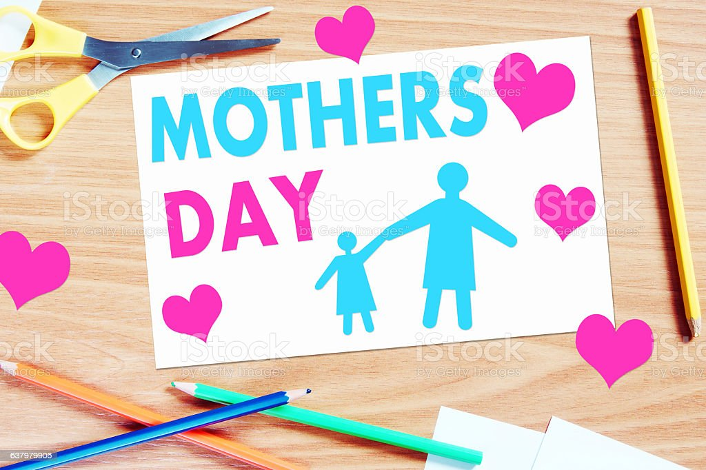 Mothers day greeting. Concept with paper scrapbooking stock photo