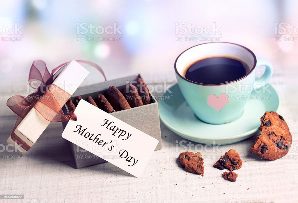 Mother's day greetings cup& present box cookies. stock photo