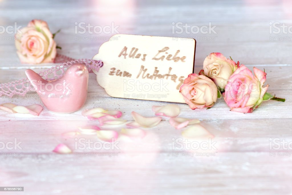 Mothers day greetings in tender pink stock photo