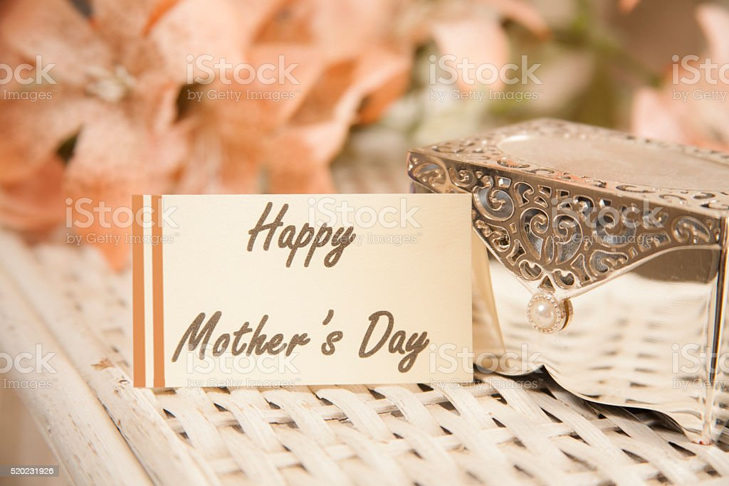 Mother's Day memories. Vintage silver jewelry box. Notecard. stock photo