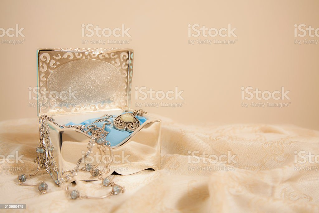 Mother's Day memories. Vintage silver jewelry box. stock photo