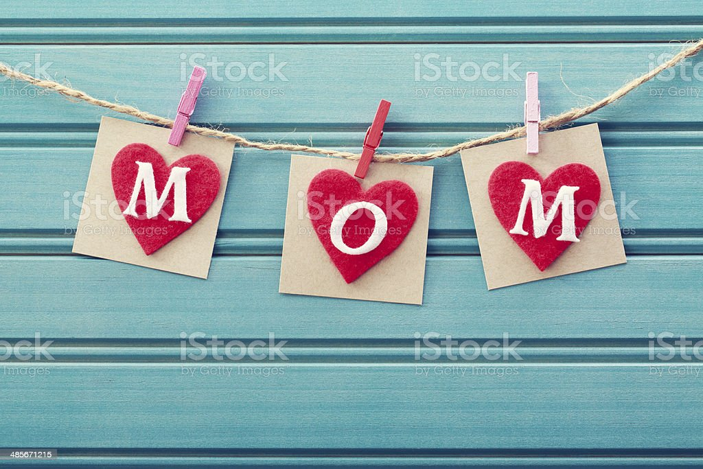 Mothers day message on felt hearts stock photo
