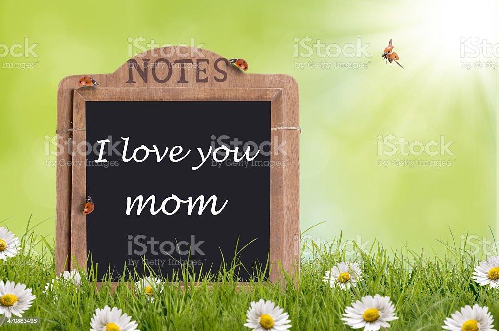 Mothers day, Note on blackboard stock photo