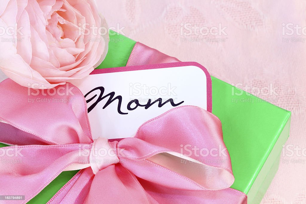 Mother's Day or Birthday Present with Pink Rose royalty-free stock photo