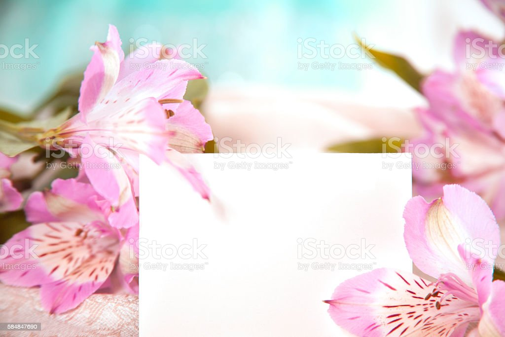 Mother's Day pink flower bouquet with blank notecard. stock photo