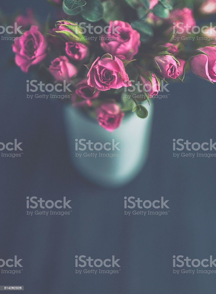 Mother's Day rose bouquet in vase from above stock photo