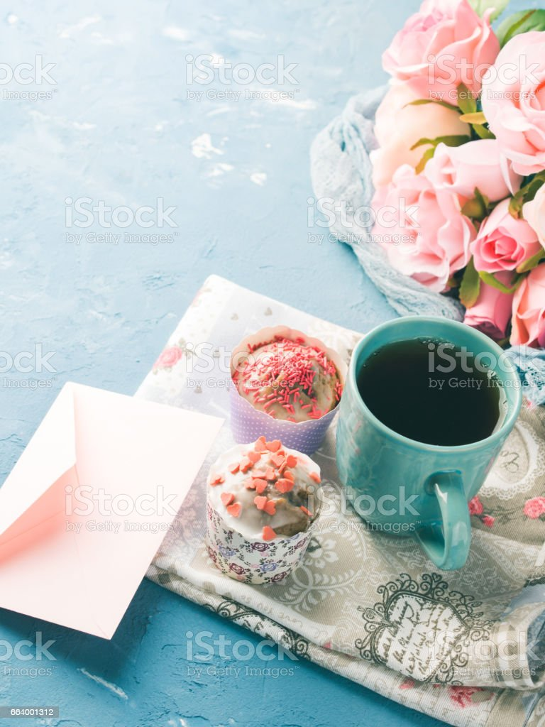 Mother's day Valentine concept muffins cup tea envelope stock photo