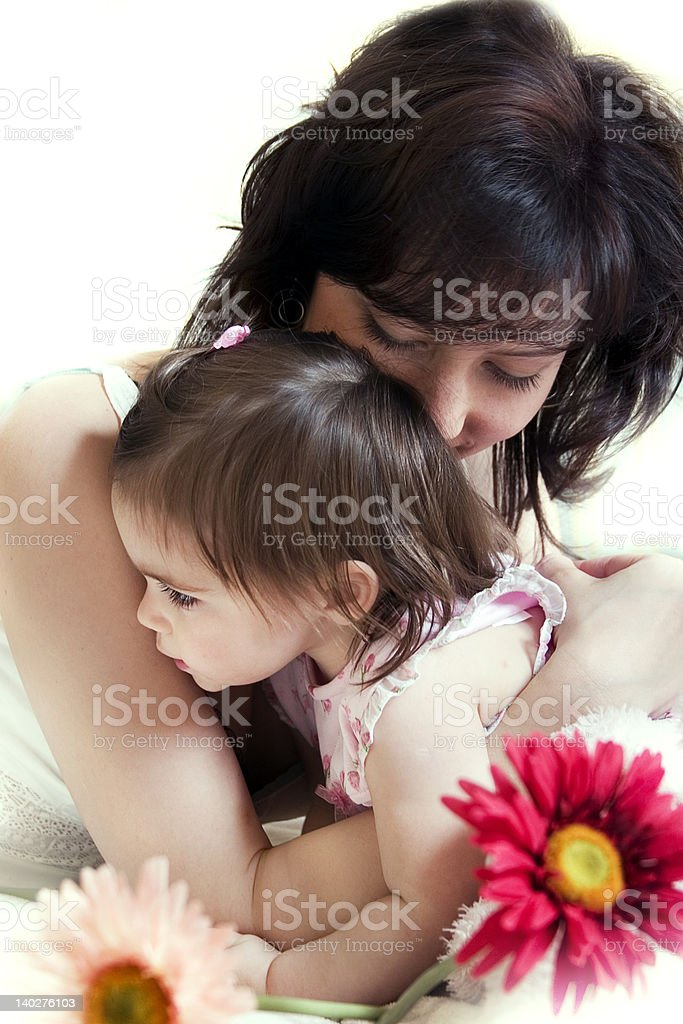 mother's hugs royalty-free stock photo