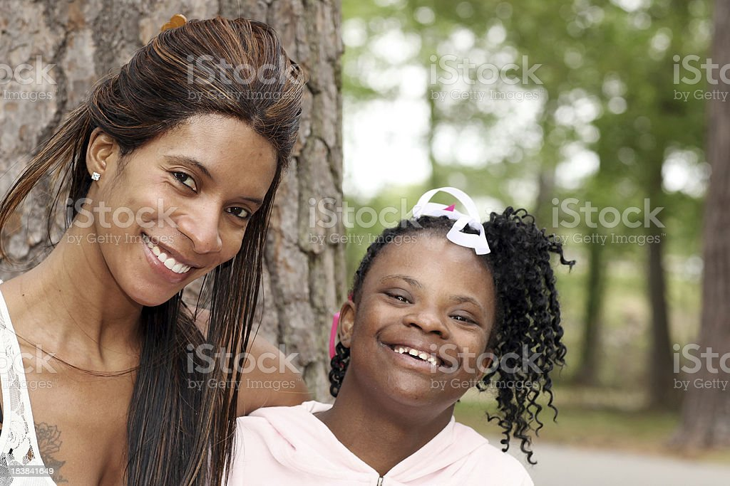Mother's Love of her Special needs daughter. royalty-free stock photo