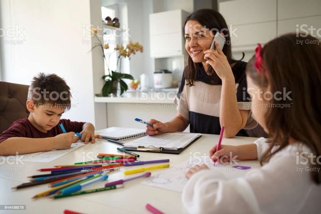 Mothers Working From Home stock photo