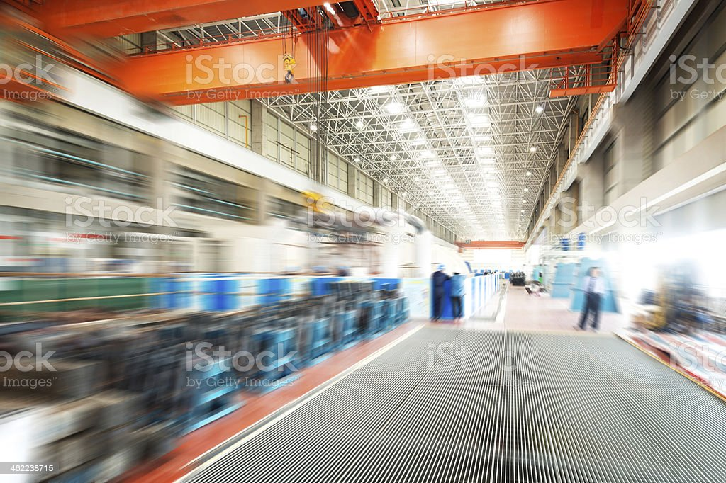Motion blur image of a large modern warehouse stock photo