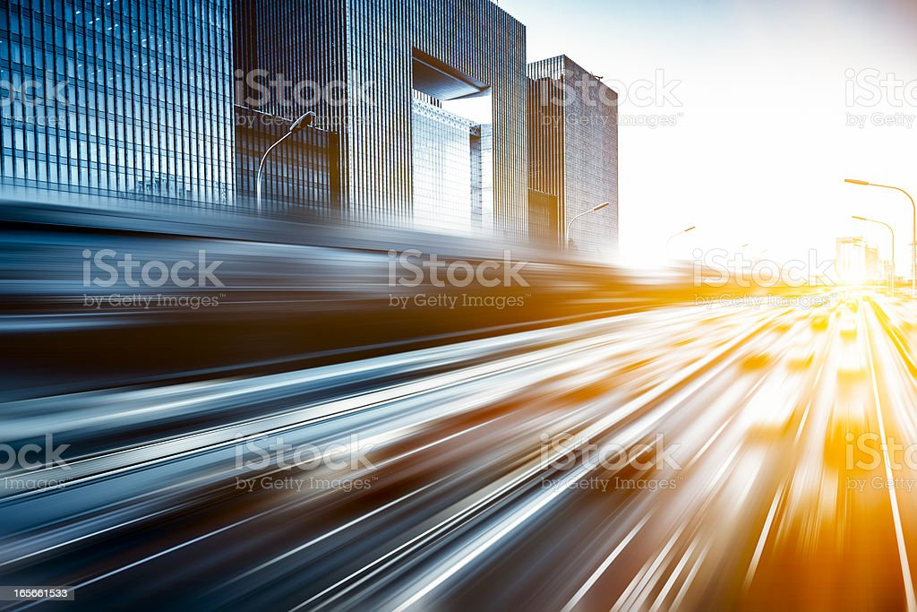 Motion blur image of traffic in Beijing, China stock photo