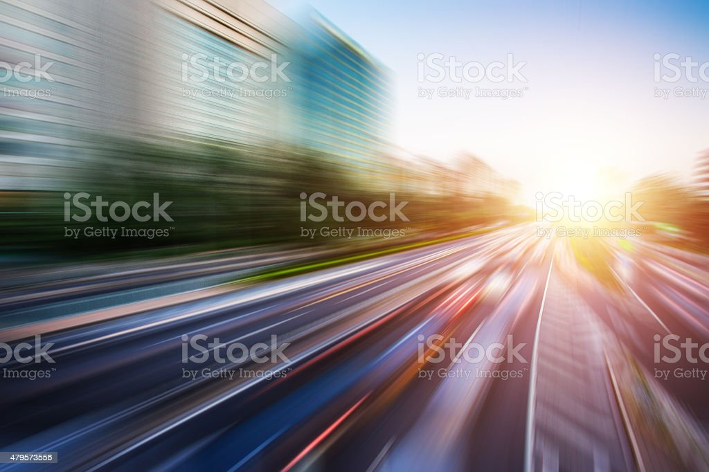 Motion blur image of traffic stock photo