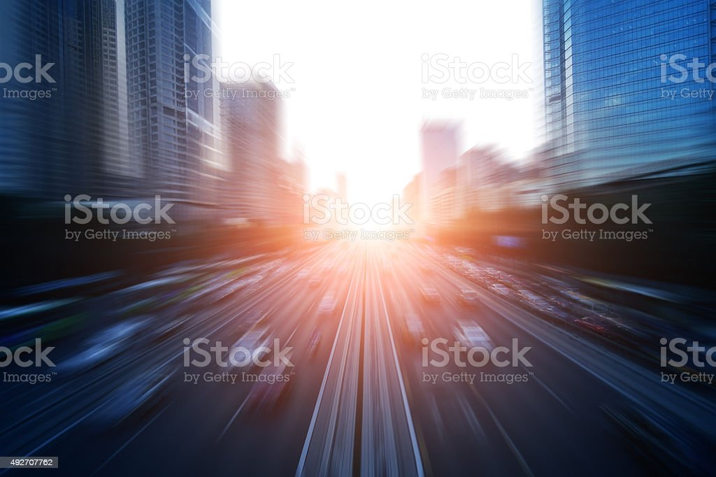Motion blur image of traffic stock photo
