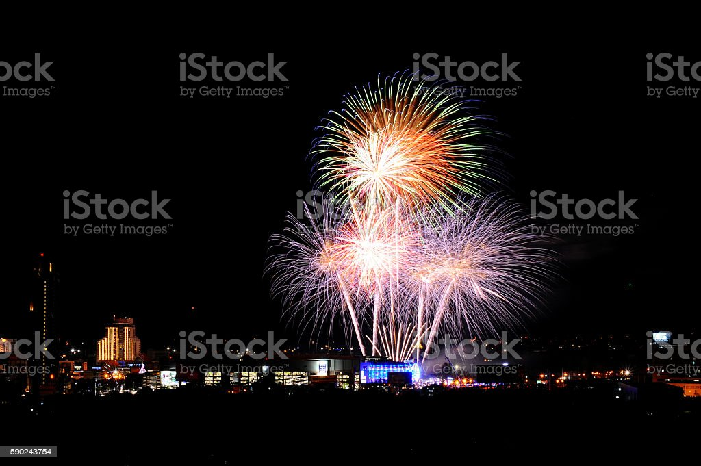 motion blur Light firework in the city stock photo
