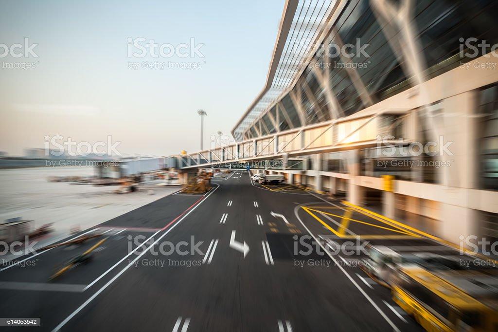 Motion Blur Modern Airport stock photo