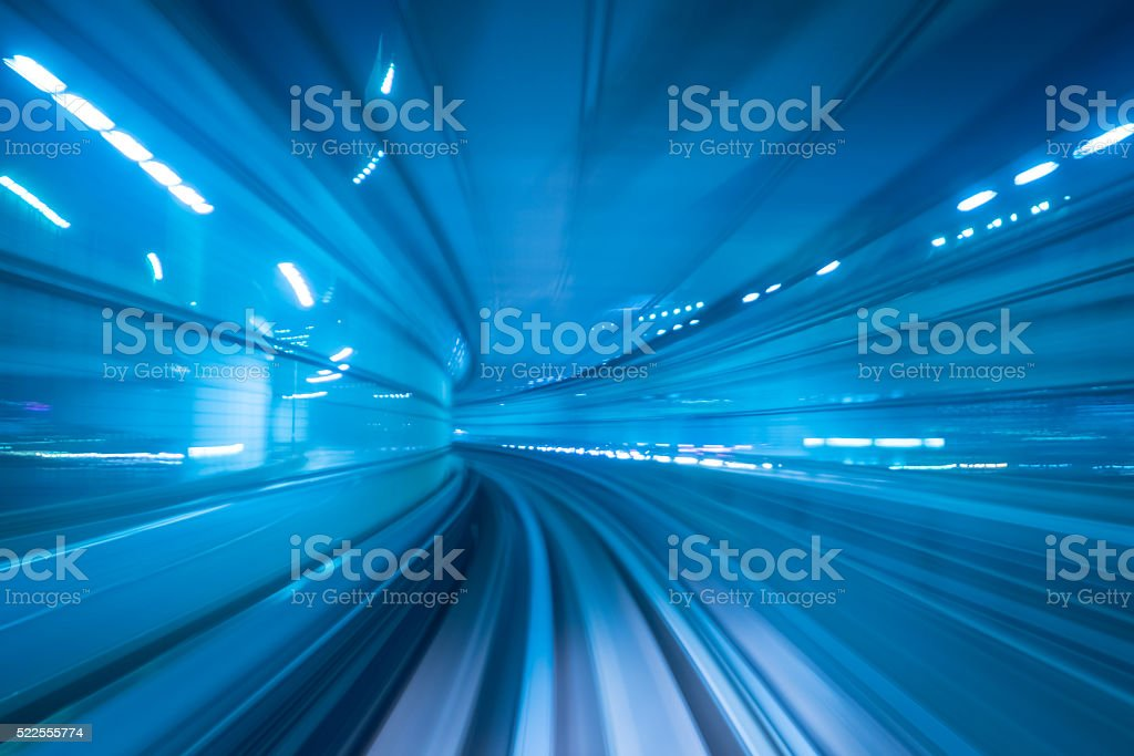 Motion blur of a city stock photo