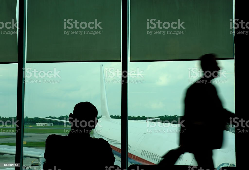 motion blur of a traveller stock photo